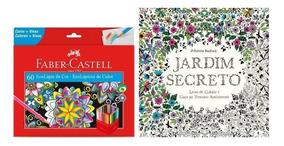 Kit - 2 Livros Para Colorir + Lápis 60 Cores Faber Castell