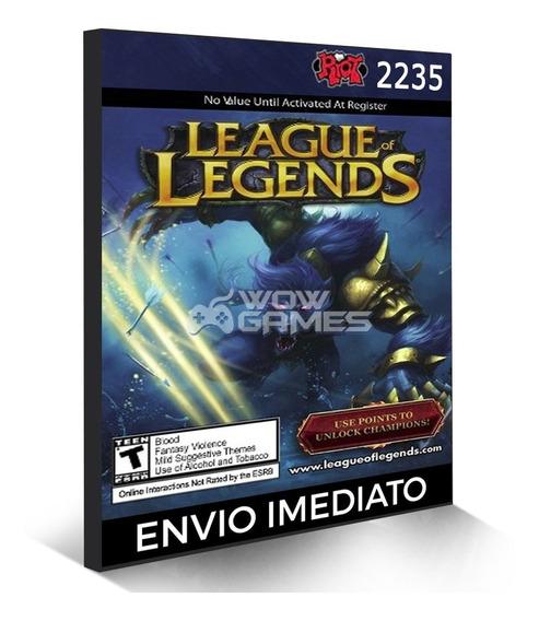 League Of Legends 2235 Riot Points Rp Cartão Lol Br Brasil