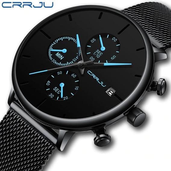 Relógio Crrju 2268 Luxo Cronógrafo Calendário Pronta Entrega