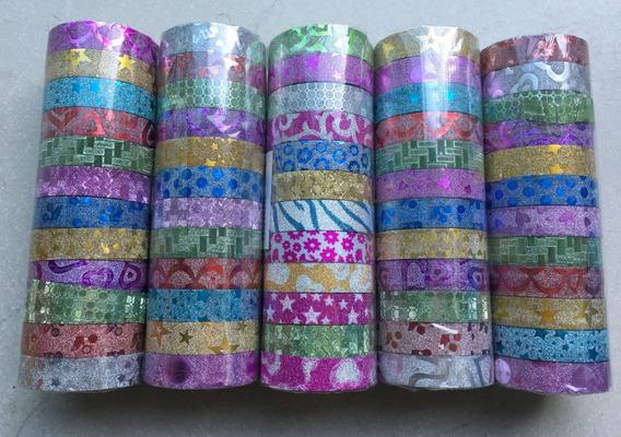 12 Fitas Wash Tape Adesiva Glitter Decorativa Artesana Durex