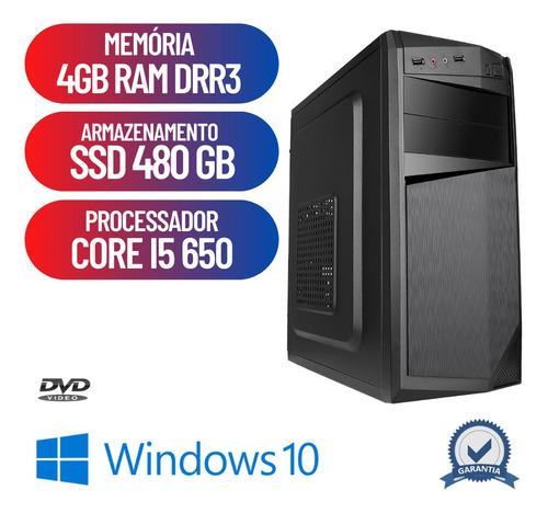 Computador Cpu Desktop Pc Prime Core I5 4gb Ssd 480gb Win10