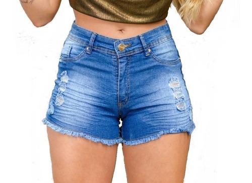 Imagem 1 de 6 de Kit 3 Short Jeans Cintura Alta Feminino Desfiado C Elastano