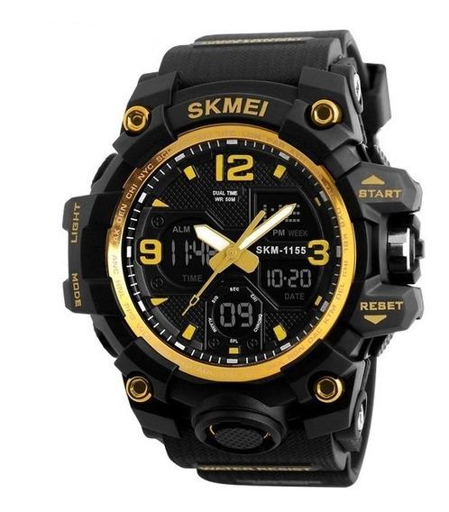 Relógio Analógico E Digital Skmei 1155 Amarelo