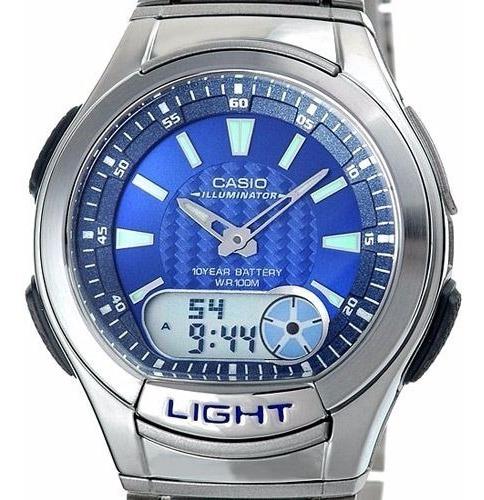 Relógio Casio Aq-180 Wd 2b Digital Análogo Mundial Telememo