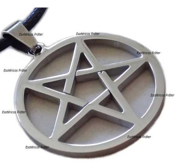 Cordão Pentagrama Invertido Baphomet Lúcifer Satan Aço