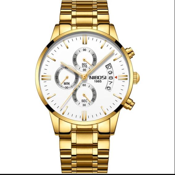 Relógio Masculino Grande Dourado Prova D