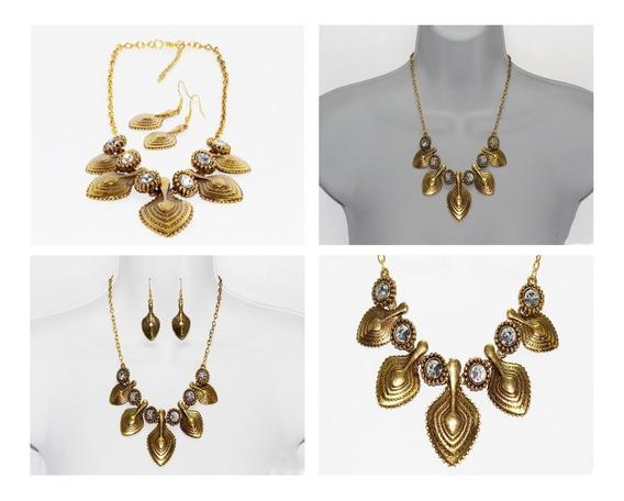 Collar Y Aretes Moda Vintage Dama Color Oro Viejo Cc87