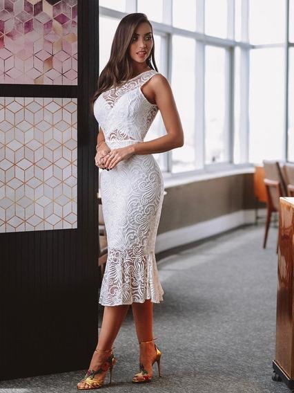 Vestido Branco Off White Midi Renda Festa Noivado Casamento