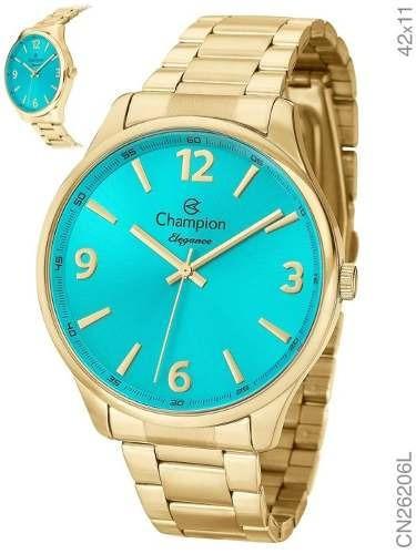 Relógio Champion Feminino Dourado Cn26206l Original C/ Nf
