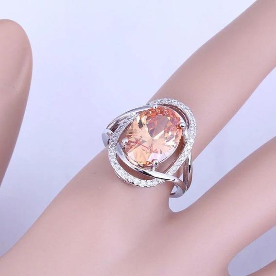 Anel Pedras Cristal Natural Prata Maciça 925 Tam.17
