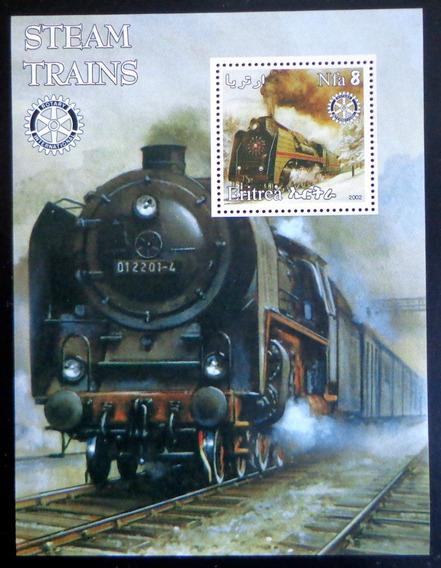 Eritrea Trenes Vapor, Bloque 1 Sello 2002 Mint L7481