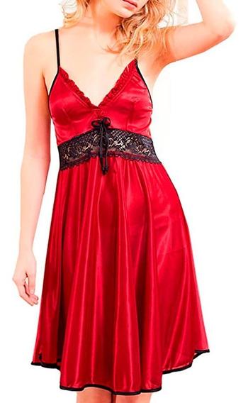 Pijama Sexy Para Domir, Camison Rojo Encaje Al Frente 2815