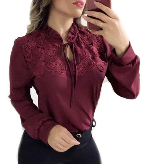 Camisa Feminina Manga Longa Renda Blusa