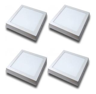 Pack X 4 Panel Plafón De Aplicar Led 12w Sica Blanco Frio / Cálido 220v Cuadrado Tienda Oficial