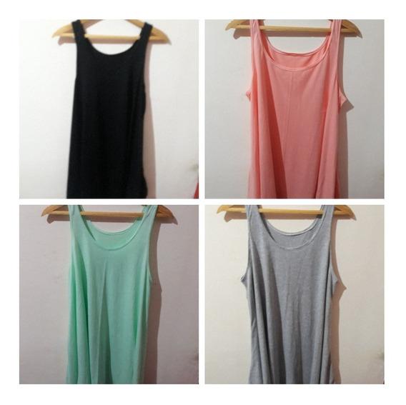 Musculosas/vestidos Largas Evase Talles Grandes Colores