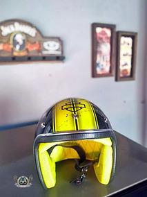 Capacete Skull Preto E Amarelo - Pronta Entrega