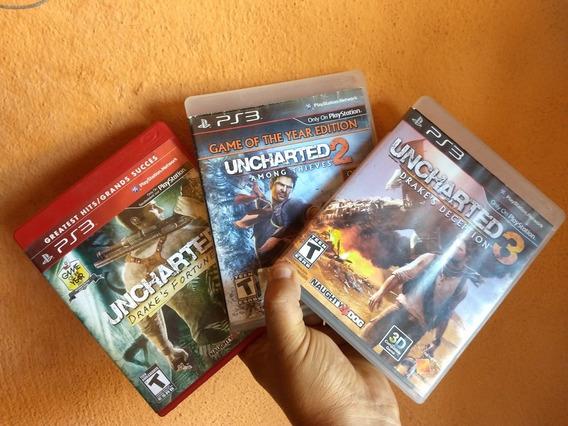 Coleção Uncharted 1 2 E 3 Original Semi Novo Midia Fisica