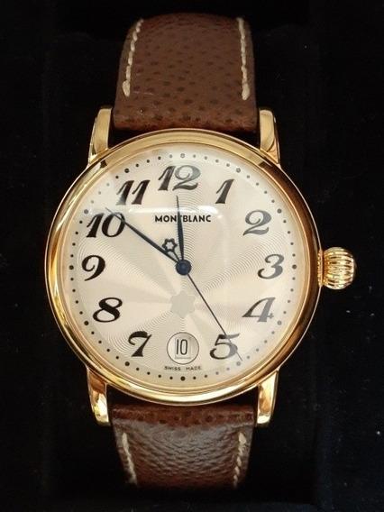 Relógio Montblanc - Plaquet De Ouro Com Nota Fiscal E Manual