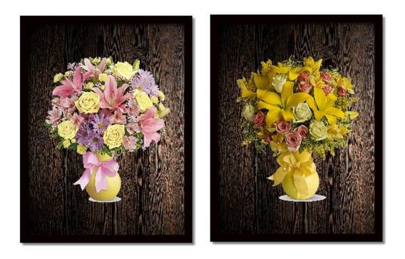 Quadros Decorativos Jarras De Flores Fundo Madeira 40x50