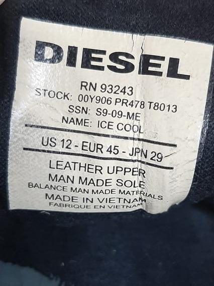 Tênis Casual Diesel Couro Marrom Customizado Pouco Uso 43