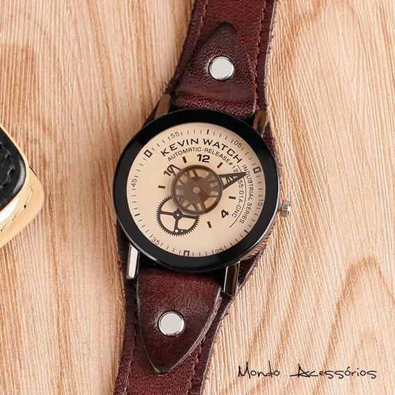 Relógio Engrenagem Steampunk Aço Inoxidável E Couro Unissex