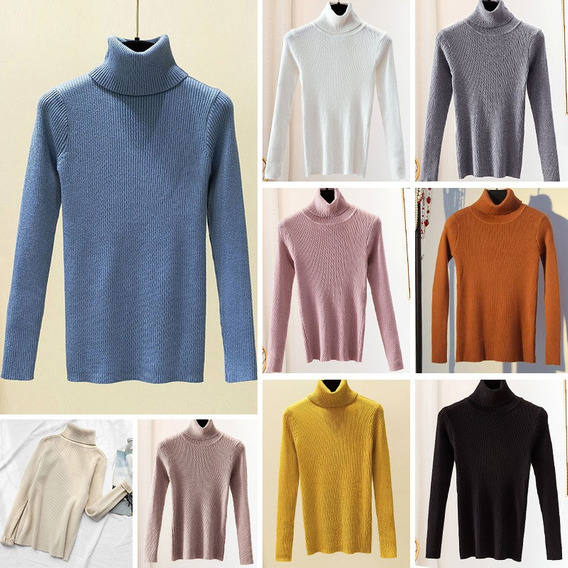Suéter De Mujer Elástico De Color Sólido Acanalado Cuello