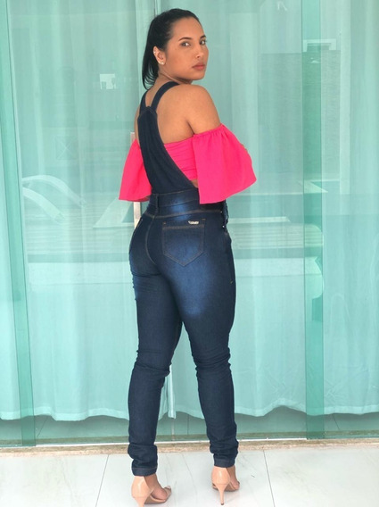 Jardineira Jeans Feminina Plus Size - 38 Ao 52