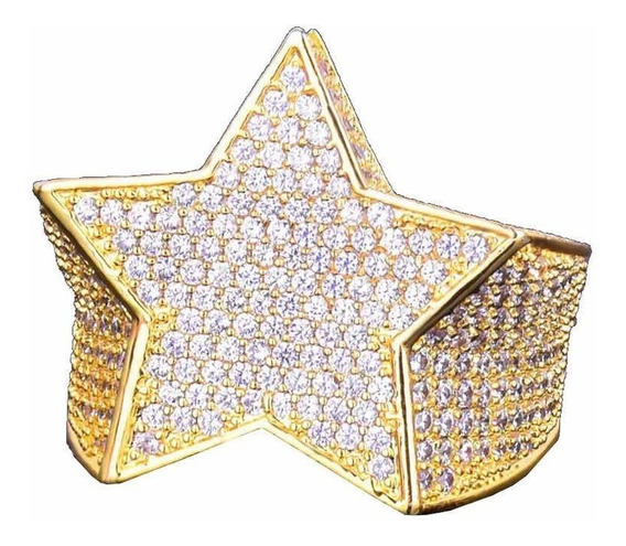 Anel Iced Out Trap Star Gold Cravejado (18,19)