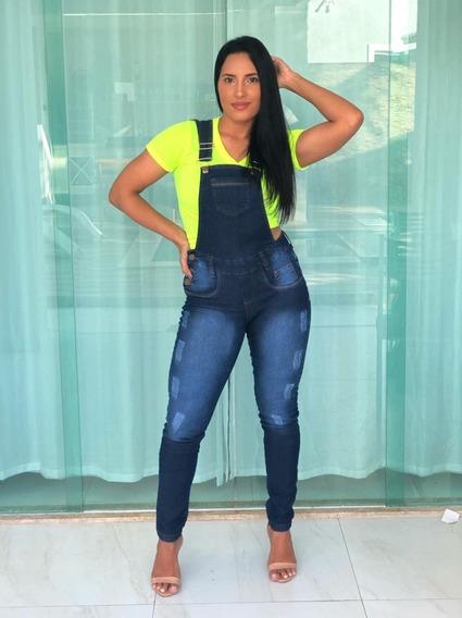 Jardineira Jeans Feminina Calça Moda Atual Macacão Lycra