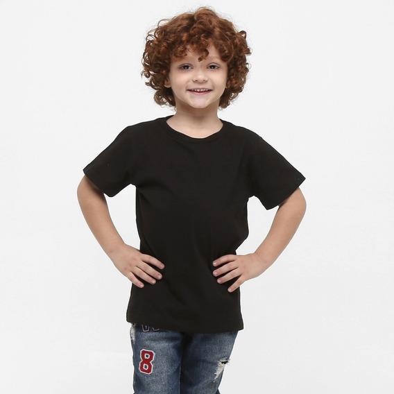 Kit 2 Camisetas Infantil Básica Lisa Algodão Cores Unissex
