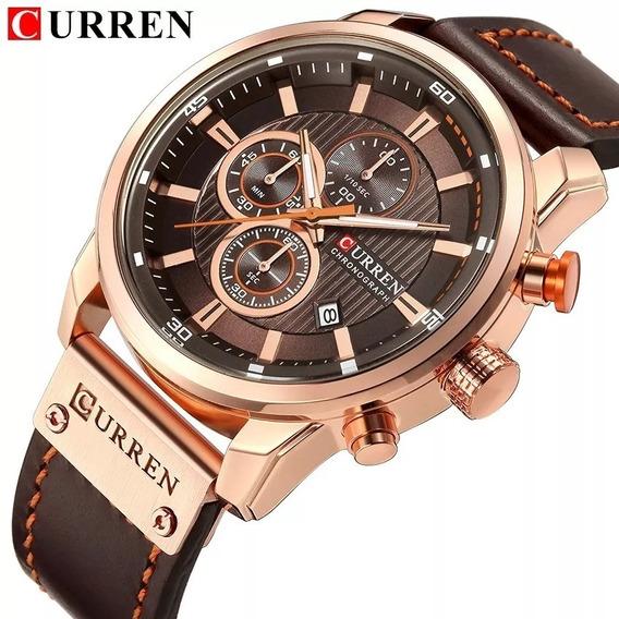 Relógio Masculino Original Curren Couro + Entrega 24hrs