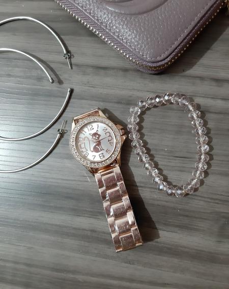 Relógio Feminino Pulso Hello Kitty Rose Gold Strass