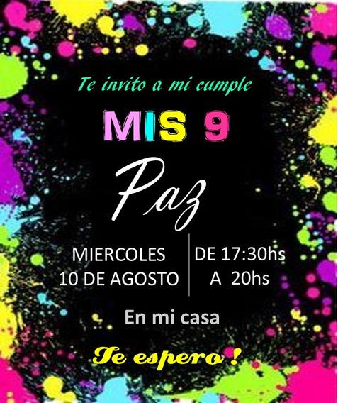 Tarjetas- Invitaciones Imprimibles, Fiesta Flúor