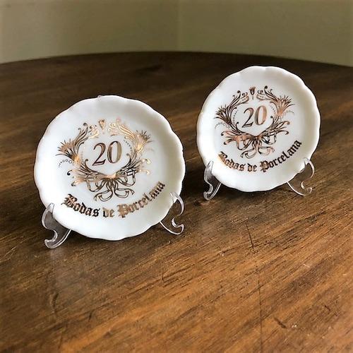 Kit 10 Pratinhos Bodas De Porcelana 20 Anos De Casamento