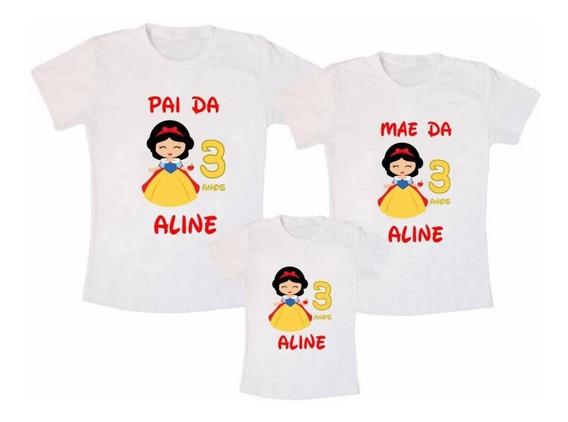 Kit 3 Camisetas Branca De Neves Personalizadas Aniversário