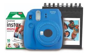 Kit Instax Mini 9 Azul Cobalto + Porta Fotos + Pack 10 Poses