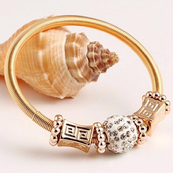 Linda Pulseira Bracelete Berloques Cristais Strass Dourada