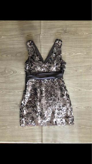 Vestido Bronze Lantejoula Tam P Forever 21 Novo