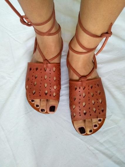 Calçado Artesanal Feminino De Amarrar Em Couro Cru Promoção