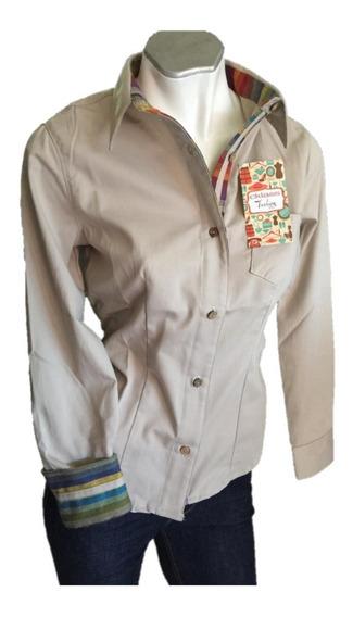 Oferta Blusa D Dama Caqui Diseñador Combinación Tela Étnica