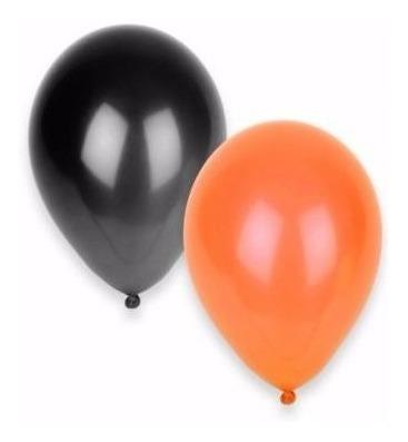 Globo Naranja O Negro Liso Comun X 50 De 9 Halloween