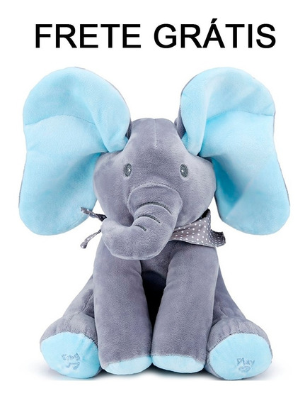 Frete Grátis Pelúcia Peek A Boo Elefante Azul Mexe A Orelha