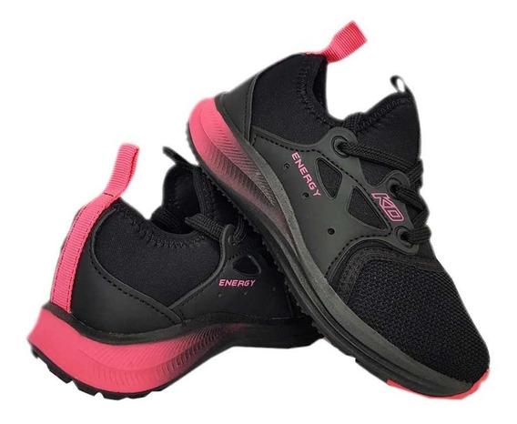 Tênis Infantil Menina Kidy Energy Respitec Preto E Pink