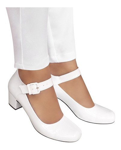 Sapato Branco Boneca Duani Noiva Enfermagem Salto Baixo