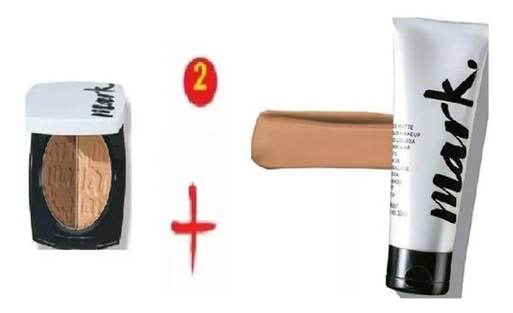 Base Líquida Avon Matte Bege Médio + Blush Bronze Rosado Kit Com 2unds