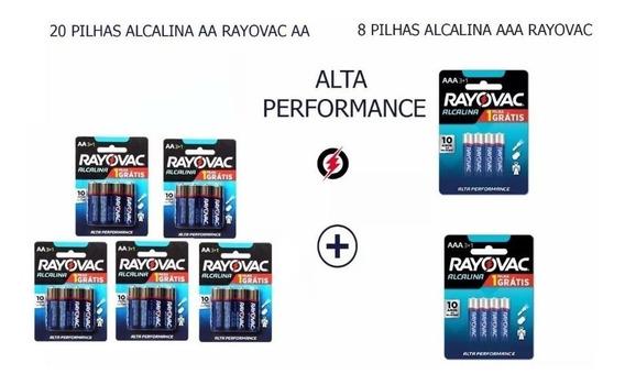 Conjunto De 28 Pilhas Alcalina Do Tipo Aa + Aaa Rayovac
