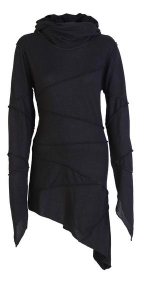 Vestido Irregular Sweater Lanilla Dark Gotico Capucha Xl