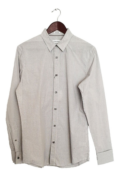 Camisa Calvin Klein Gris Cudaros Finos