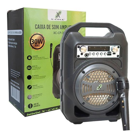 Caixa Portátil De Som Amplificada 30 W Rms Xc-cp-30 X-cell