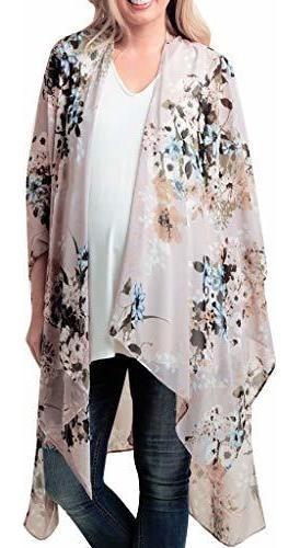 Mujer Pura Gasa Floral Kimono Cardigan Blusa Larga Suelta To